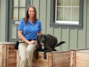 Dozer with his handler, Jennifer Berger
