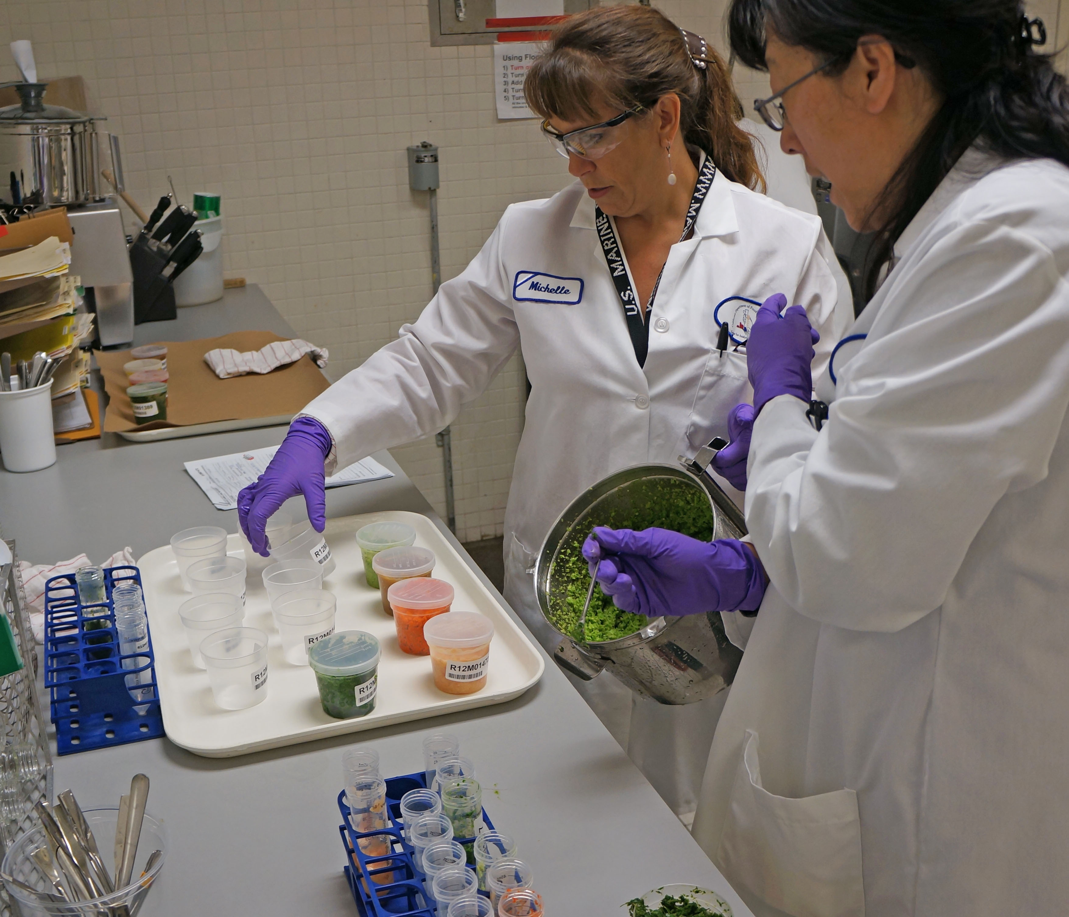 CDFA environmental scientists Michelle Armstrong (L) and Zhe Wang test for pesticide residue in a joint program with the California Department of Pesticide Regulation.