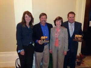 Congratulating award-winners at the State Fair Wine Competition. From left, Caroline Beteta, Visit California;  Joe Benzinger, Imagery Estate Winery; CDFA Secretary Karen Ross; Paul Ahvenainen, Korbel.