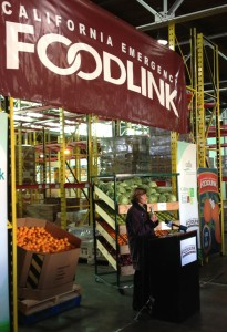 CDFA Secretary Karen Ross speaks at a Farm to Food Bank event today in Sacramento.
