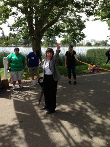 CDFA Secretary Karen Ross prepares to cut the ribbon at the 10th annual Zinfest.