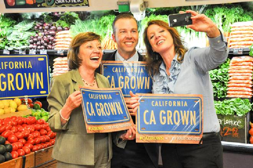 CDFA Secretary Karen Ross (left) joins Visit California CEO Caroline Beteta and California Grown's  Nick Matteis for a #cagrown selfie.  California Grown has committed to donating a pound of food to California food banks for every #cagrown selfie that is posted on Instagram, Twitter or Facebook by end of October.  Participants are asked to take a photograph of the CA Grown logo or anything grown or produced in California and then use #cagrown in their post.