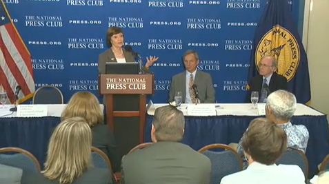 CDFA Secretary Karen Ross (standing) at the National Press Club in Washington DC with UC Davis professors Jay Lund (right) and Richard Howitt, co-authors of the drought impact study.