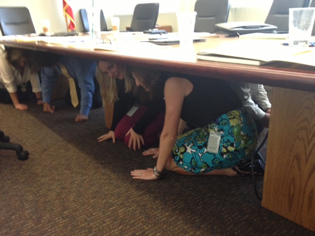 Members of CDFA's Emergency Planning Committee take part in the annual Great ShakeOut Earthquake Drill.  An estimated 20 million people around the world are estimated to be participating in the event to promote earthquake readiness.