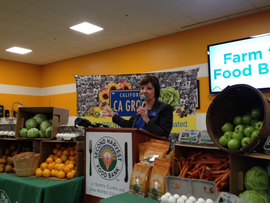 CDFA Secretary Karen Ross discusses Farm to Food Bank Month at an event today at Second Harvest Food Bank in San Jose.  Governor Brown has commemorated December 2014 as Farm to Food Bank Month in California.