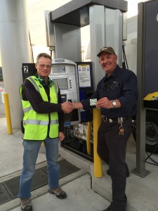 CDFA Measurement Standards Specialist III  Norm Ingram (left) with Dr. Michael Dray of CSULA at the unveiling of the approved dispenser for hydrogen fuel.