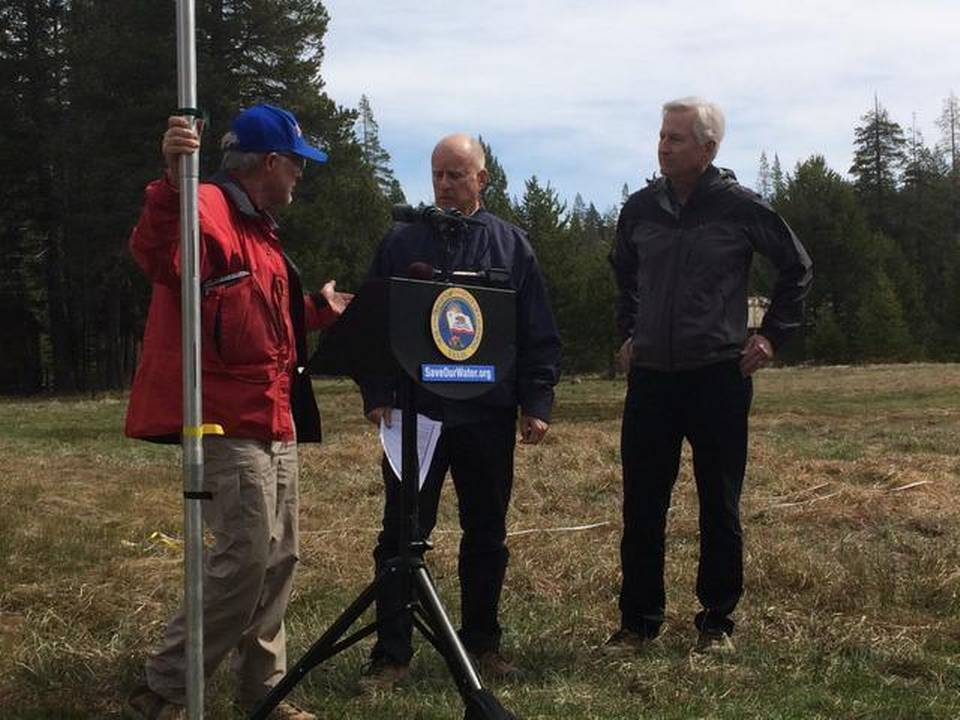 Governor Brown attends today's Department of Water Resources snow survey in the Sierra  Nevada. Photo credit - David Siders, Sacramento Bee.