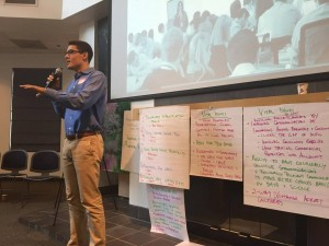 Kevin Cruz, a third year UC Davis student, speaks at event on finding solutions to world hunger. Photo courtesy of the Sacramento Bee.