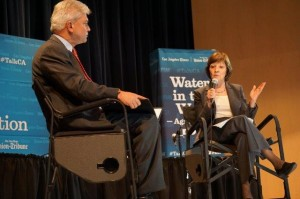 """Secretary Ross talking with Los Angeles Times reporter Peter King last week in Clovis as part of the Times' series, """"The California Conversation."""" PHOTO - AG NET WEST.COM"""