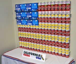 """""""California Feeds the USA"""" is the title of this can creation, part of the annual food drive and a friendly interoffice competition between offices at the department's Sacramento headquarters and nearby offices. Stay tuned later today for more photos!"""