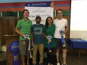 """The group """"GivingGarden,"""" winner of first-prize at the Apps for Ag Hackathon earlier this week. From left, Scott Kirkland, Josh Livni, Deema Tamimi and John Knoll."""
