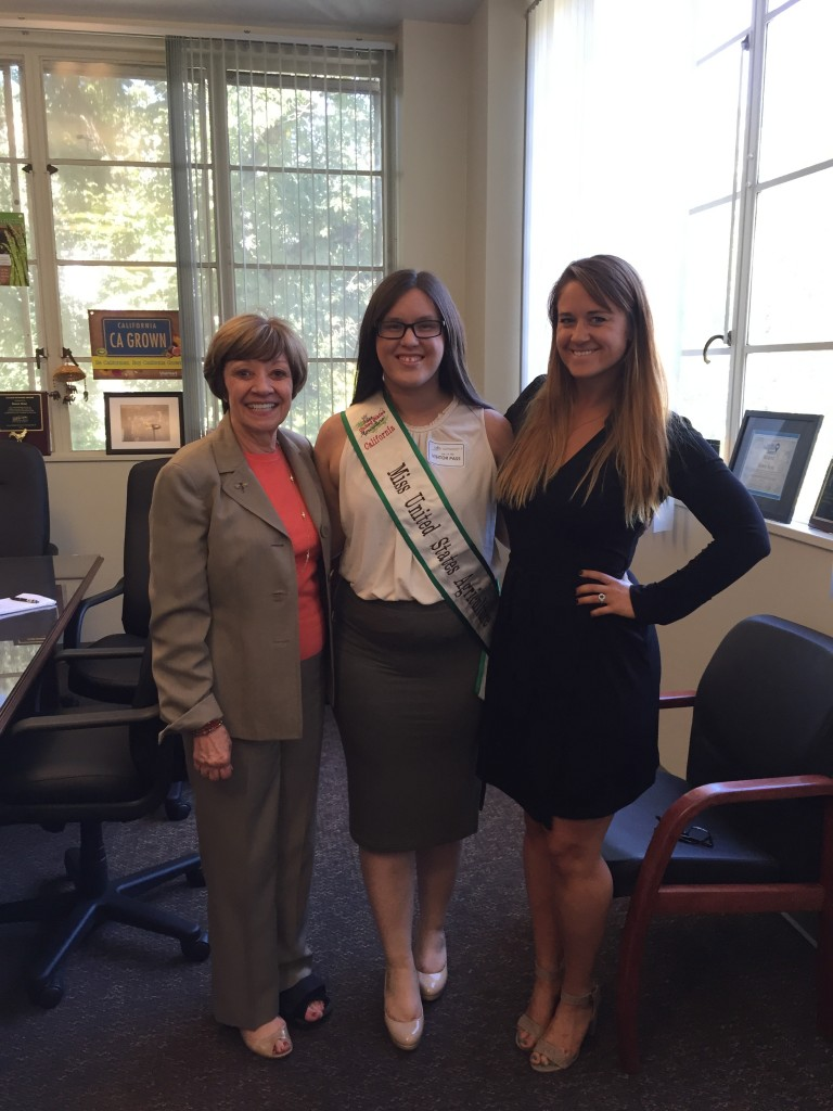 California's Miss United States Agriculture Jacqueline Carter (center) with Secretary Ross and CDFA Legislative Manager Taylor Roschen.