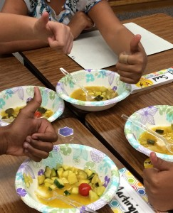 """California public school students learning about agriculture through activity called """"Solution Soup,"""" which also teaches children how to convert fractions to decimals."""