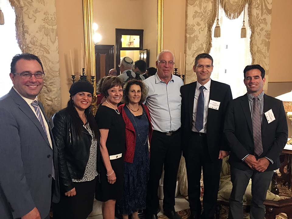 At today's Water in Agriculture event, (from left) Josh Eddy ofCDFA, Ifat Weiss, CDFA Secretary Karen Ross, Minister Uri Ariel and his wife; Consul General Andy David, and Economic Consul Gili Ovadia.