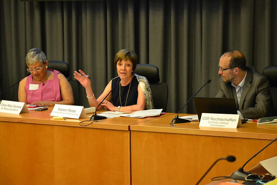 CDFA Secretary Karen Ross with Air Resources Board chair Mary Nichols and PUC member Cliff Rechtschaffen