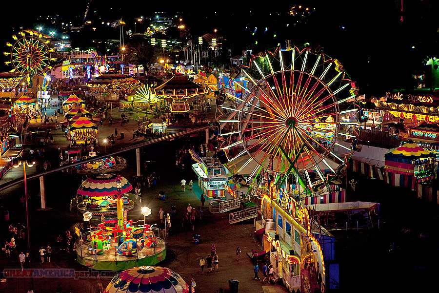 A carnival midway at night