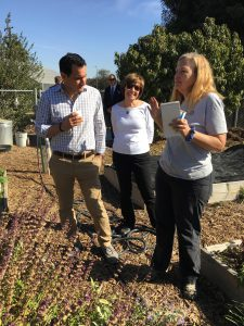 California Assembly Speaker Anthony Rendon (left) and CDFA Secretary Karen Ross (right) learn about GrowGood from its Executive Director Mary MacVean.
