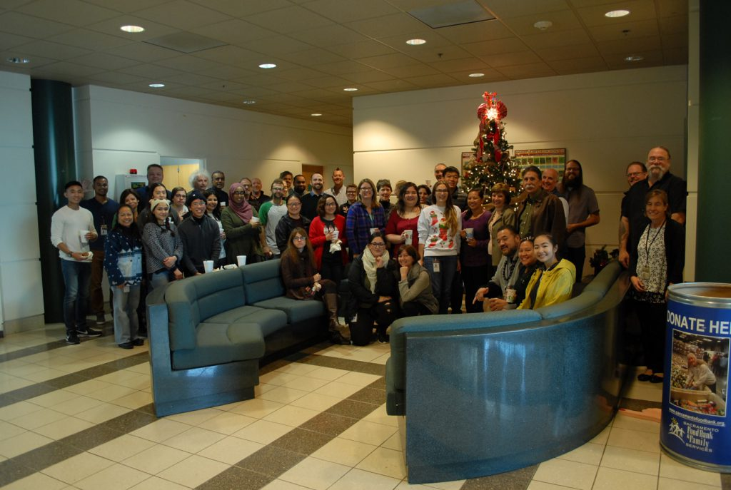 Holiday cheer filled the lobby at the CDFA's Plant Pest Diagnostics Center.