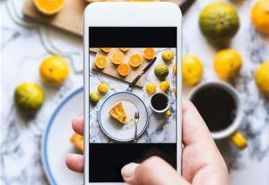 Photographing a plate of food with a smartphone