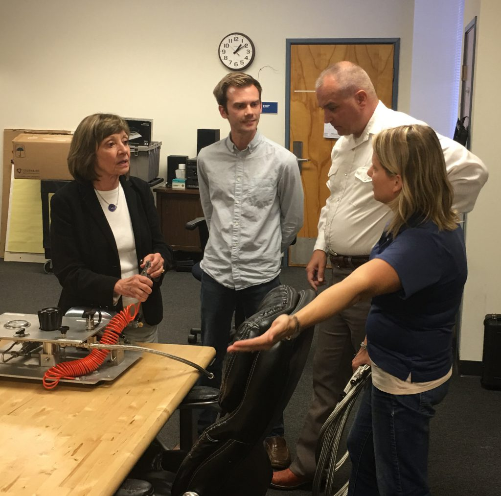 Secretary Ross (L) learns about hydrogen fuel testing today at CDFA's Division of Measurement Standards (DMS) facility in Anaheim.
