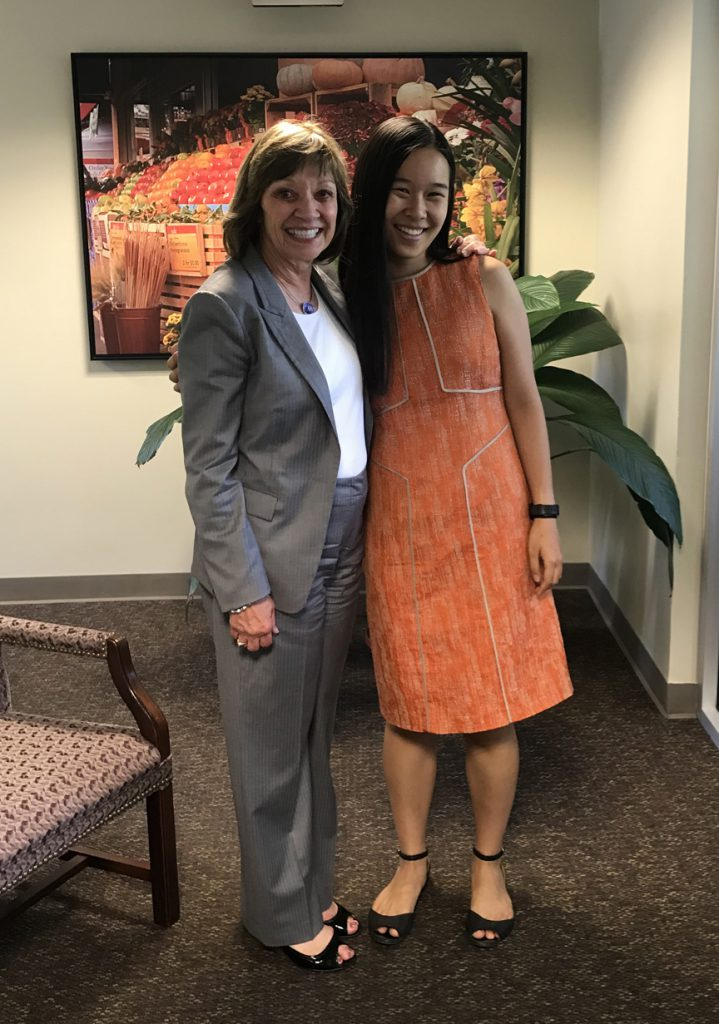 "CDFA Secretary Karen Ross (left) says ""Thanks and farewell!"" to summer intern Nancy Chang."