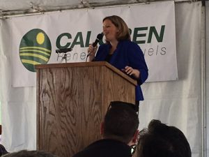 CDFA Undersecretary Jenny Lester Moffitt congratulates Calgren and their partner dairies and contractors at the launch of the new digester cluster facility.