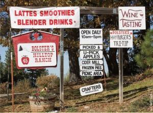 Signs advertising wine tastings