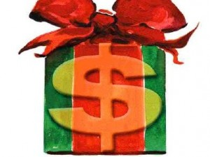 Illustration of a holiday gift with a dollar sign