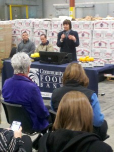 CDFA Secretary Karen Ross addresses food bank supporters in Fresno.