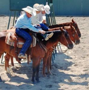 Three riders on horseback