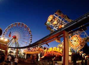 Midway rides at night