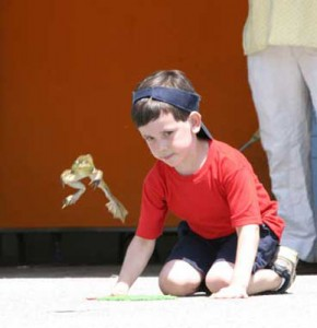 Child with a leaping frog