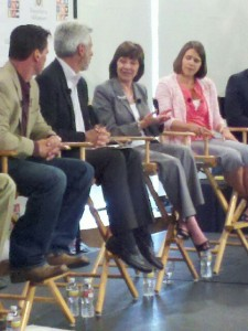 CDFA Secretary Karen Ross (center) speaking at the Food Dialogues on June 21, 2012 at UCLA. To her left is Illinois farmer Katie Pratt. To her right is the moderator, author Michael Specter.