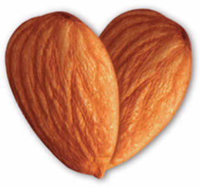 Almonds shaped as a heart