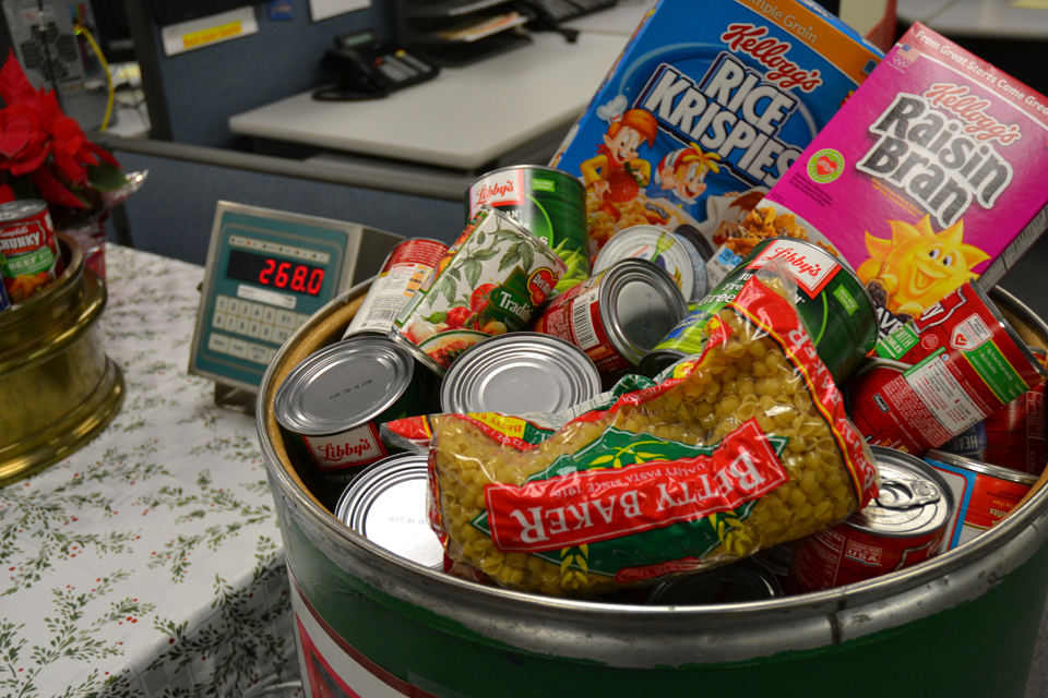 This barrel of donated food items was part of the display at the department's Division of Measurement Standards