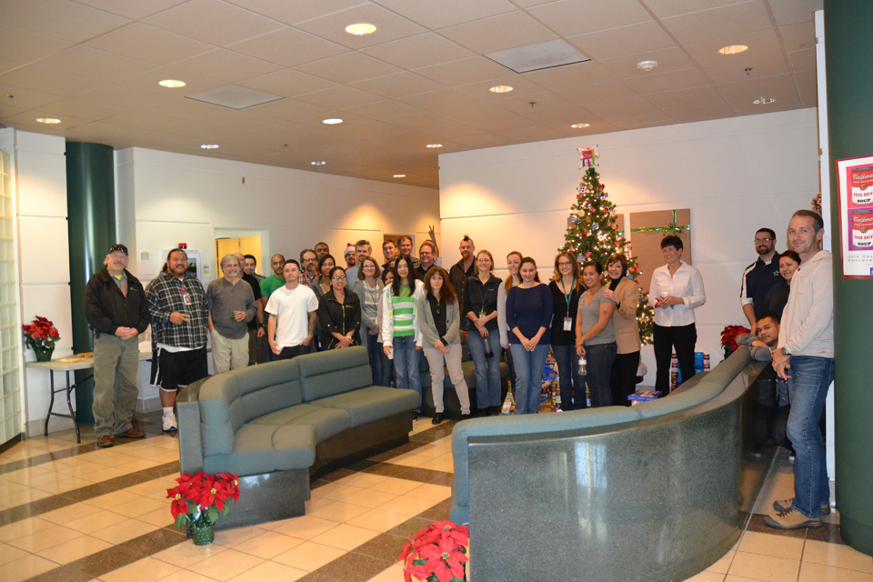 The Plant Pest Diagnostics Center filled the lobby with holiday cheer – and plenty of donated canned goods