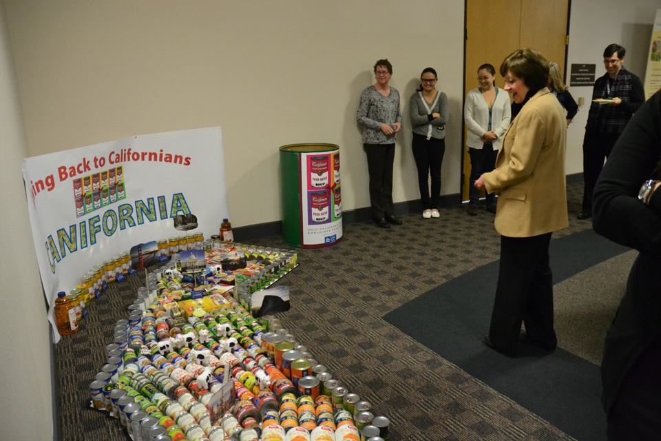 CDFA's Marketing Services Division constructed California map in the shape of the state, with appropriately placed veggies, fruits and other donated agricultural items