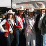 Miss Rodeo California Salinas Jynel Gularte, Miss Rodeo California Brittany Slayton, and Miss Gold Country Pro Rodeo Sydney Elliott, with Bob Fox of PRCA