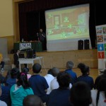 Parker Elementary students watch a presentation about where to watch out for germs in the kitchen