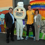 """Joining """"Thermy"""" for a photo-op are FSIS Administrator Al Almanza, Oakland A's rookie Mark Canha, and CDFA Secretary Karen Ross"""