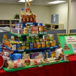 """The department's Division of Measurement Standards went with a """"Holiday Food Drive Pyramid"""" theme, complete with each level representing a separate food group"""