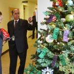 Nirmal Saini and Secretary Ross inspect a Christmas Tree