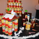 """A farm scene built of canned potato """"stix"""" and other jarred foods"""