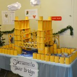 CDFA's Plant Health and Pest Prevention Services staff put its donated canned goods to good use with this replica of the nearby Tower Bridge, an icon on the Sacramento skyline