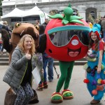The California Fresh mascot posing for photos with fans