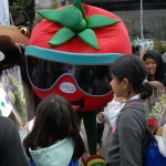 The California Fresh mascot entertains kids at Ag Day