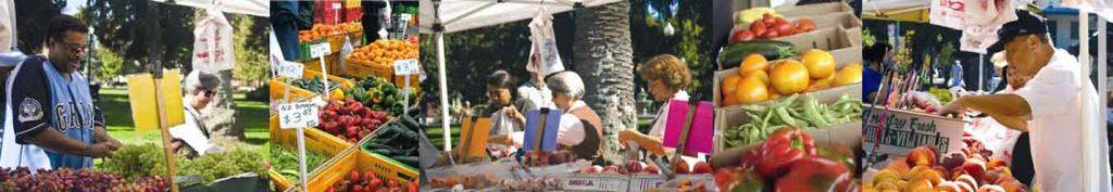 Photo montage of fresh fruit at markets
