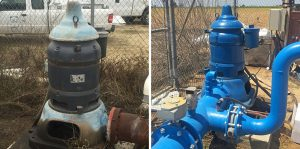 An old irrigation pump with oil leaks and general worn condition (left) was replaced with the new one (right) with support from the SWEEP program. Photos by Ruth Dahlquist-Willard.