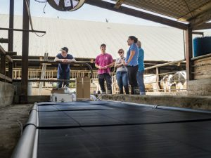 Researchers stand over heat exchange mats