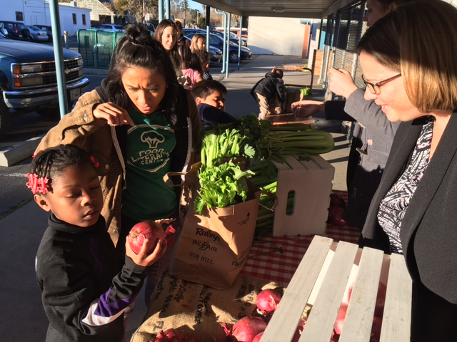 Kids inspecting vegetables